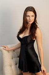 Midnight Blue Silk Chemise with Underwire
